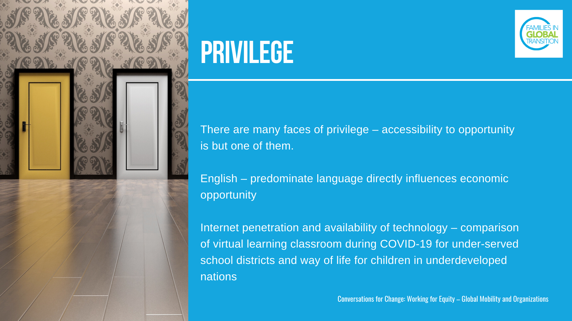 Privilege: There are many faces of privilege – accessibility to opportunity is but one of them. English – predominate language directly influences economic opportunity Internet penetration and availability of technology – comparison of virtual learning classroom during COVID-19 for under-served school districts and way of life for children in underdeveloped nations