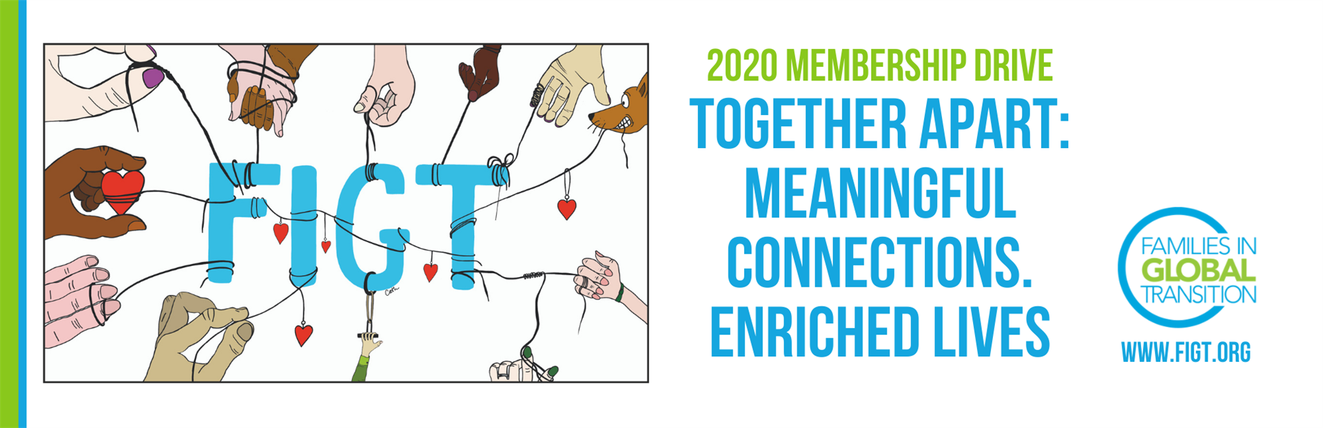 Blog title: 2020 membership drive. Drawing of many hands holding strings connected to the letters FIGT. Drawn by Cath Brew