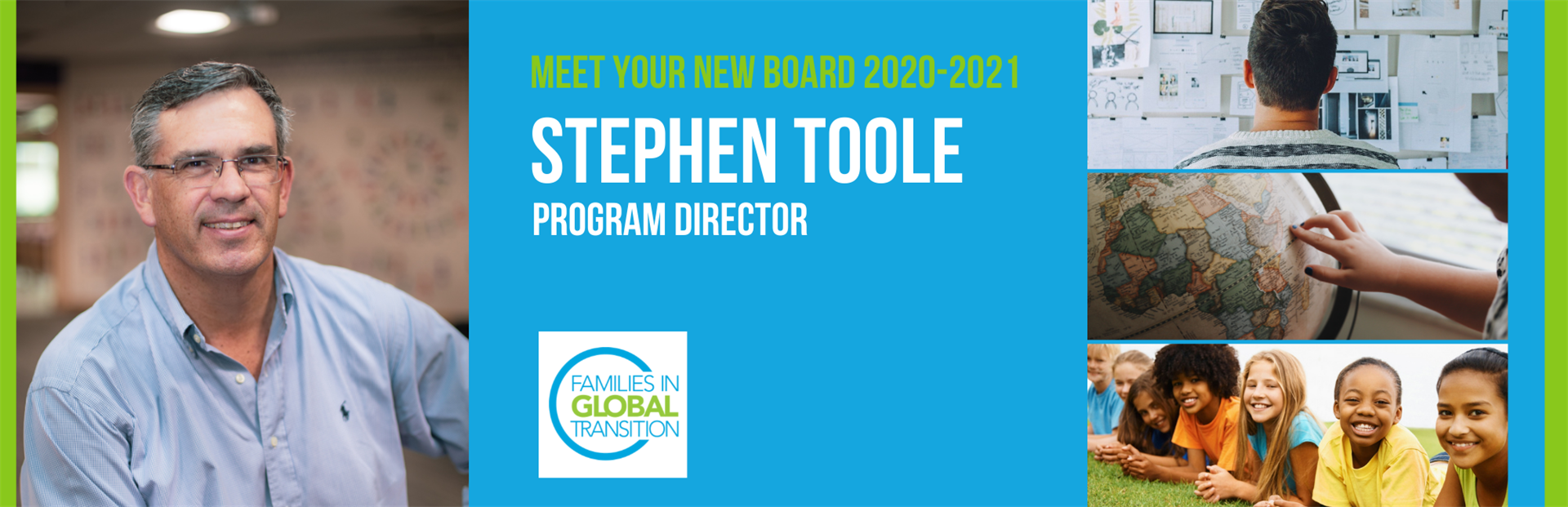 Banner with blog title, meet new board 2020-21 Stephen Toole, Program Director