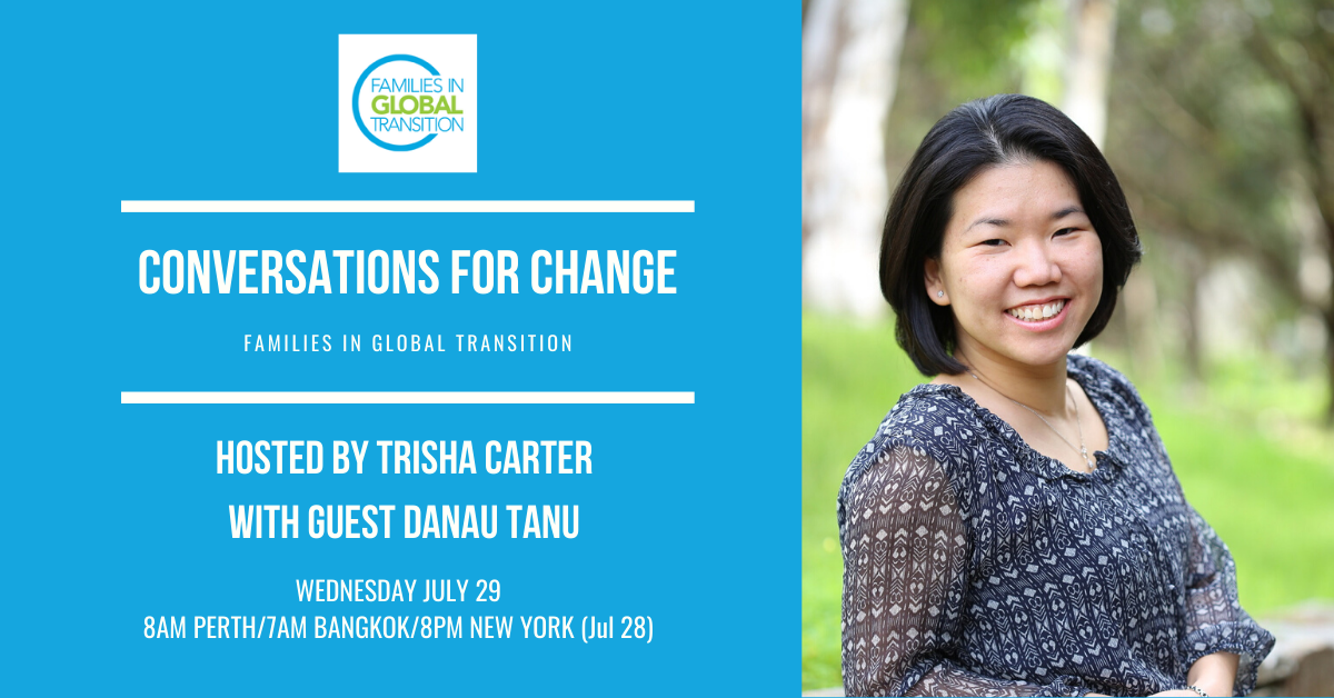 Flyer of Conversations for Change held on 29 July 2020 with Trisha Carter and Danau Tanu