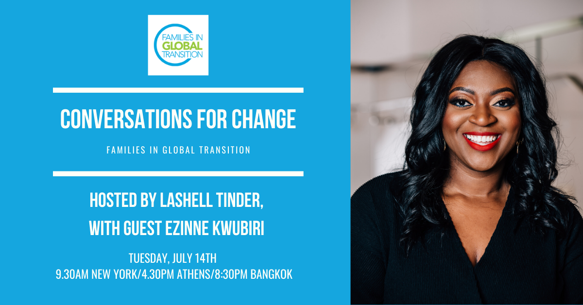 Flyer of Conversations for Change on 14 July 2020, with LaShell Tinder and Ezinee Kwubiri